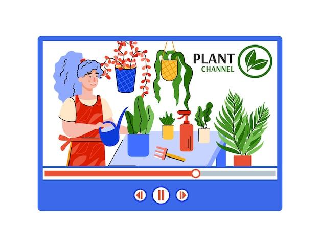 L'interfaccia di plant chanel per i social media blog con la donna si prende cura delle piante d'appartamento