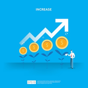 Pianta l'illustrazione di crescita dell'albero della moneta dei soldi per il concetto di investimento.