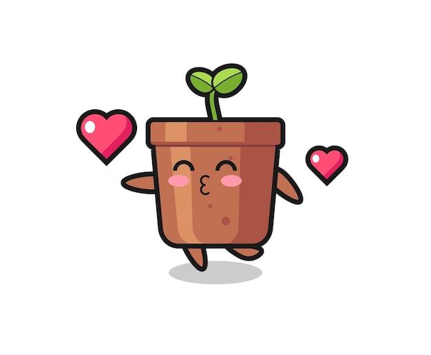 Cartone animato personaggio vaso per piante con gesto di bacio, design in stile carino per t-shirt, adesivo, elemento logo