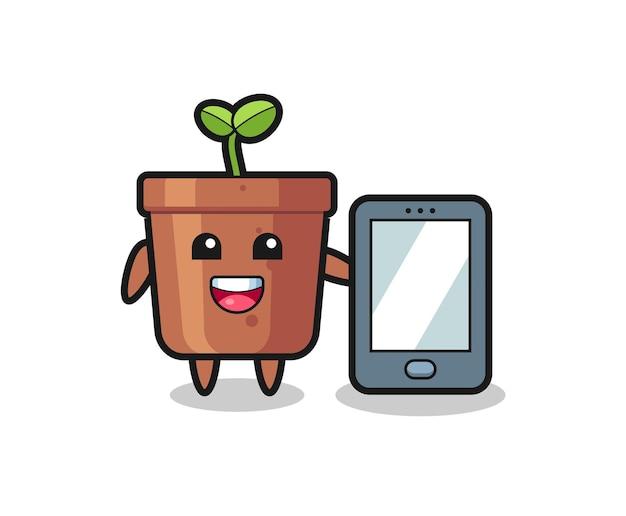 Fumetto dell'illustrazione del vaso della pianta che tiene uno smartphone, design in stile carino per maglietta, adesivo, elemento logo