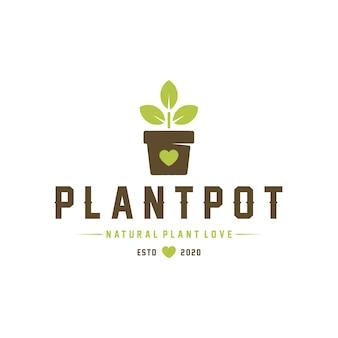 Modello di logo di amore vaso di piante