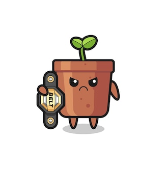 Personaggio mascotte vaso di piante come combattente mma con la cintura del campione, design in stile carino per t-shirt, adesivo, elemento logo