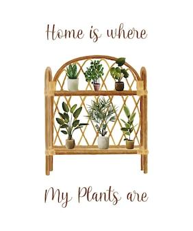 Modello di sfondo disegnato a mano dell'acquerello di citazione della pianta