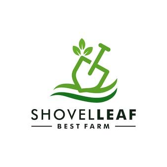 Logotipo di vettore dell'icona dell'azienda agricola di progettazione del logo della pala della pianta