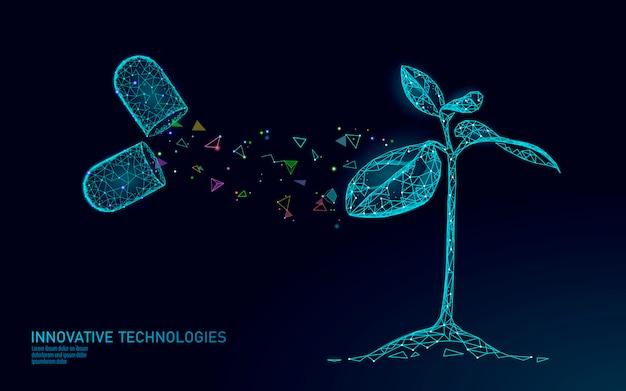 Concetto dell'estratto di biotecnologia del germoglio della pianta. 3d rendono il semenzale foglie supplemento di vitamina ingegneria genoma del dna. triangoli del poligono di eco di vita di scienza medica poli illustrazione bassa
