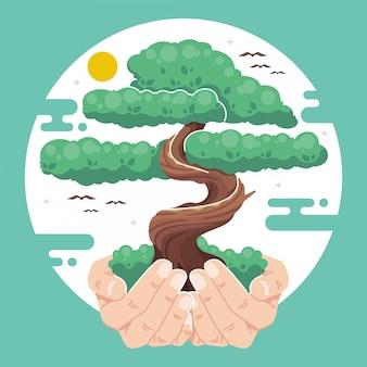 Pianta uno sfondo di illustrazione dell'albero