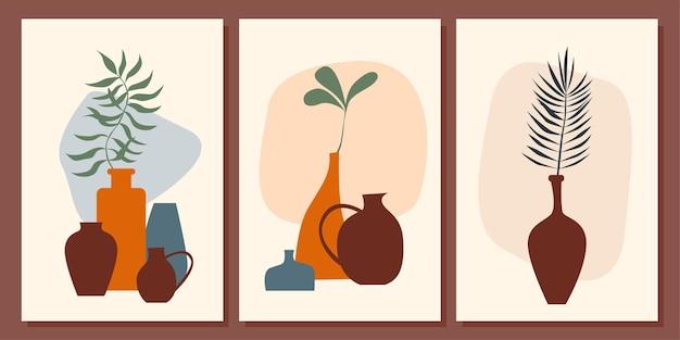 Set di poster di arte della parete di piante e vasi collezione di poster minimalisti astratti boho con motivo di sfondo