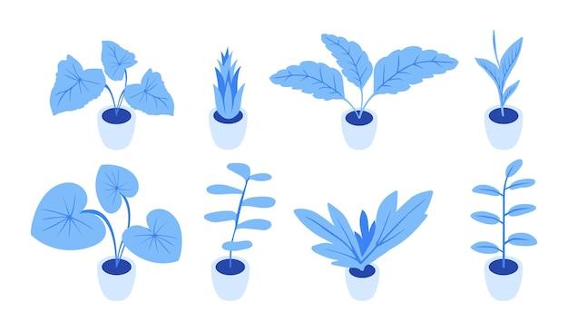 Piantagione di verde per l'interno del mondo isometrico. piante blu alla moda. insieme di poche piante per camera.