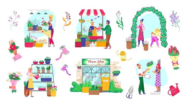 Mercato delle piante e dei fiori insieme di illustrazioni isolate