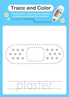 Traccia in gesso e traccia del foglio di lavoro prescolare a colori per bambini per la pratica delle capacità motorie