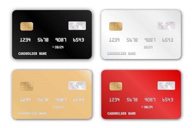 Insieme di plastica del modello di progettazione di carta di credito. set di carte di credito dettagliate realistiche