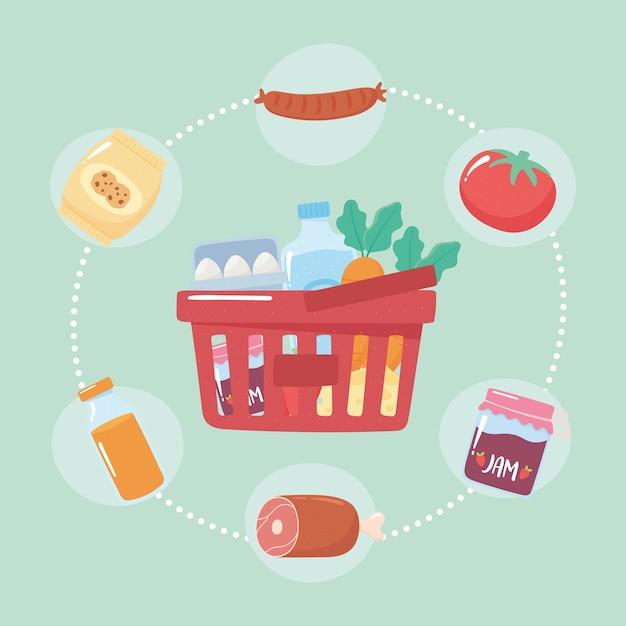 Mercato dei prodotti pieni di cesto di plastica, acquisti di generi alimentari
