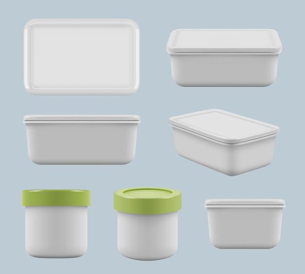 Scatole di plastica. prendersi cura del cibo in contenitori quadrati utensile di stoccaggio vuoto per modelli realistici di vettore di cucina. contenitore di raccolta in plastica, scatola per l'illustrazione dell'imballaggio