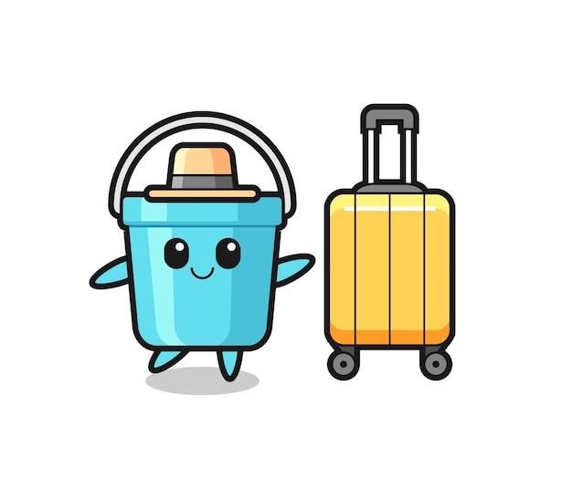 Illustrazione di cartone animato secchio di plastica con bagagli in vacanza, design in stile carino per t-shirt, adesivo, elemento logo