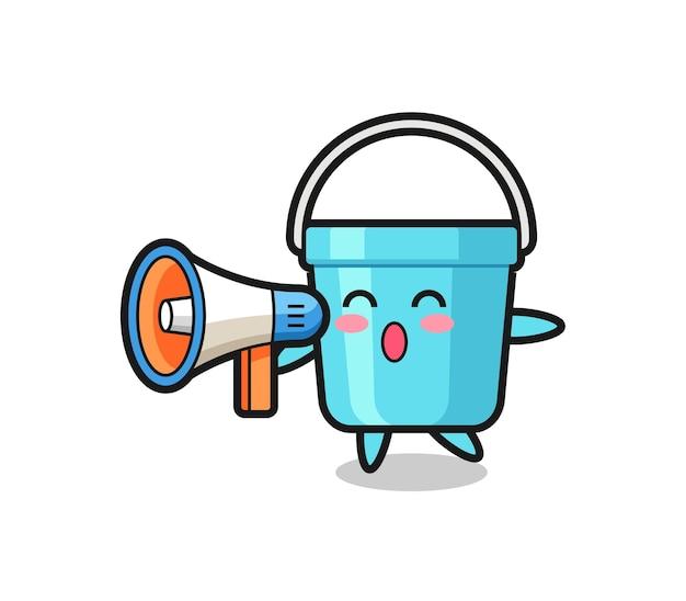 Illustrazione del personaggio del secchio di plastica che tiene un megafono, design in stile carino per maglietta, adesivo, elemento logo