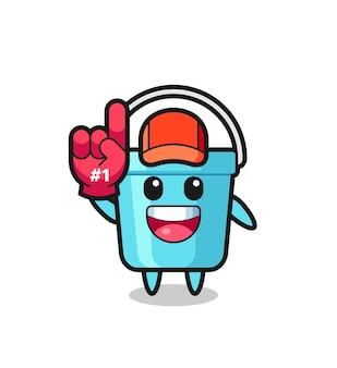 Cartone animato illustrazione secchio di plastica con guanto numero 1 fan, design in stile carino per t-shirt, adesivo, elemento logo