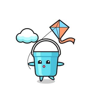 L'illustrazione della mascotte del secchio di plastica sta giocando a un aquilone, un design in stile carino per maglietta, adesivo, elemento logo