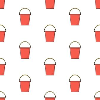 Secchio di plastica seamless su uno sfondo bianco. illustrazione di vettore di tema del secchio di plastica