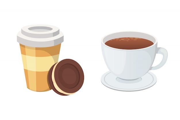 Tazza di caffè in plastica con caffè caldo in stile cartone animato.
