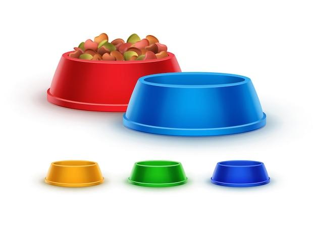 Ciotole colorate in plastica per l'alimentazione degli animali domestici con cibo per animali domestici e illustrazioni 3d vuote