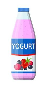 Contenitore di plastica con yogurt da bere. dessert di yogurt alla fragola e ciliegie al ribes nero. bicchiere di plastica alimentare. prodotto a base di latte. prodotto sano biologico. illustrazione vettoriale in stile piatto