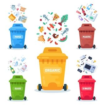 Contenitori di plastica per diversi rifiuti illustrazione