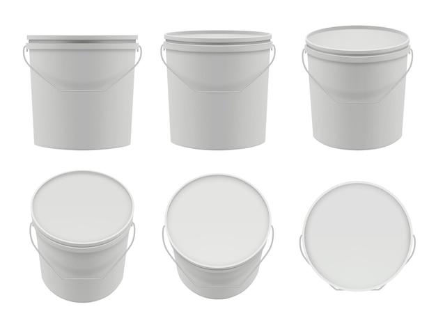 Contenitori di plastica. raccolta di pacchetti vettoriali mockup di secchi bianchi vuoti. contenitore con stucco, secchio bianco dell'illustrazione del set