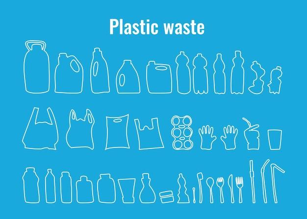 Contenitori di plastica e piatti monouso impostano il simbolo del problema dei rifiuti di plastica dell'illustrazione vettoriale