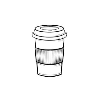 Tazza di plastica dell'icona di doodle di contorni disegnati a mano caffè al cioccolato. illustrazione di schizzo di vettore di caffè da asporto per stampa, web, mobile e infografica isolato su priorità bassa bianca.