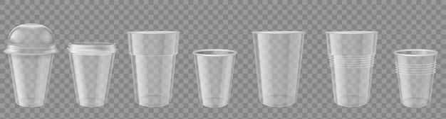 Bicchiere di plastica. bicchieri usa e getta trasparenti realistici con tappo. mockup di contenitori per bevande vuoti. pacchetti per caffè o set di vettore di bevande fredde. tazza monouso pulita con illustrazione del coperchio o del cappuccio
