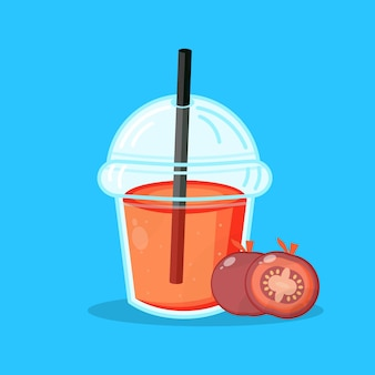 Bicchiere di plastica succo di pomodoro carino