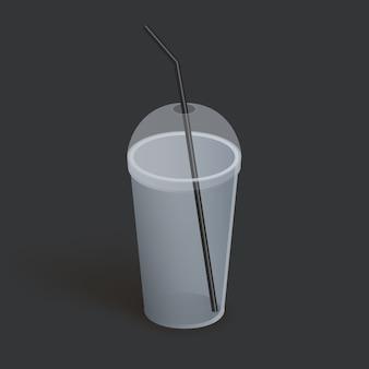 Bicchiere di plastica con coperchio per caffè, tè, frullati, succo di frutta. realistico bicchiere vuoto. illustrazione su sfondo scuro.