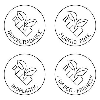 Icone senza plastica. biodegradabile. simbolo rotondo con bottiglia e foglie all'interno. riciclaggio della bottiglia di plastica. produzione di materiale compostabile ecologico. rifiuti zero, concetto di protezione della natura