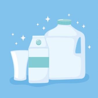 Bottiglie di bicchieri di plastica o di vetro, scatola metallica di plastica usa e getta e illustrazione vettoriale tazza
