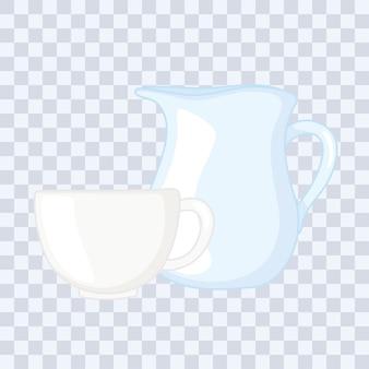 Bottiglie di bicchieri di plastica o di vetro, brocca di vetro e illustrazione di vettore della tazza di caffè