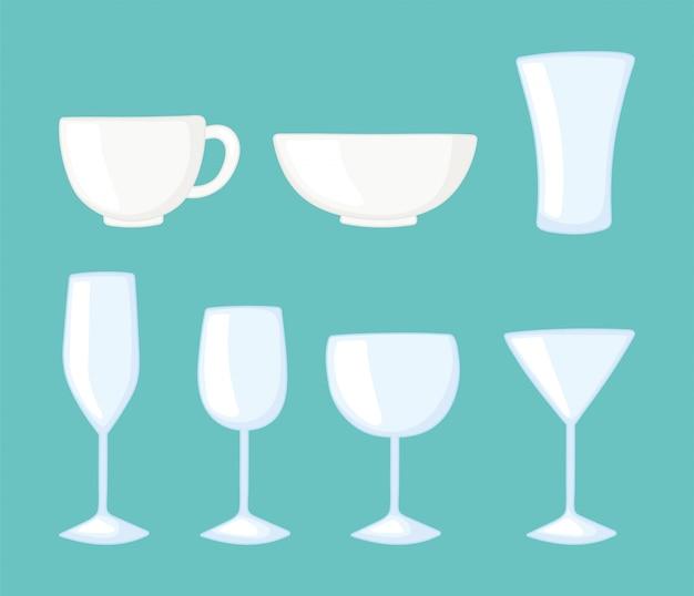 Bottiglie di bicchieri di plastica o di vetro, icone di utensili da cucina in vetro