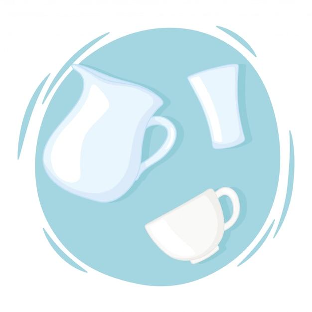 Bottiglie di bicchieri di plastica o di vetro, tazza di caffè brocca e icone di vetro illustrazione vettoriale