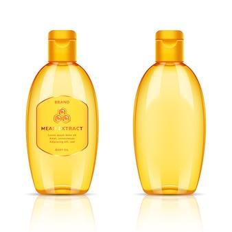 Bottiglia trasparente dorata di plastica per olio per il corpo, shampoo, sapone, gel, balsamo, balsamo, lozione, schiuma, crema su priorità bassa bianca. modello di progettazione del pacchetto tema per la cura del corpo.