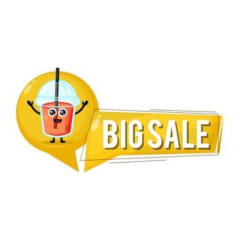 Tazza di succo di plastica grande vendita simpatico personaggio logo