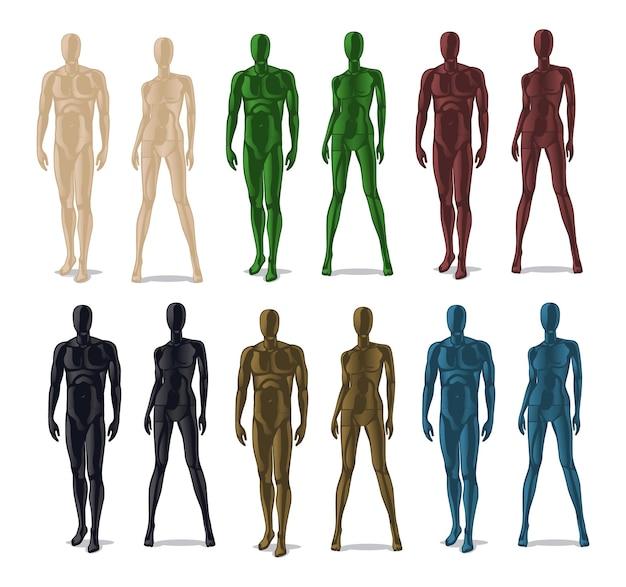 Manichini in plastica. uomini e donne modellano bambole per vestiti.