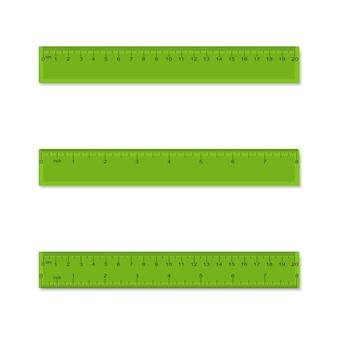 Righelli di misurazione in plastica in centimetri pollici millimetri separati e combinati
