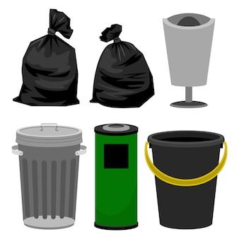Bidoni di plastica e metallici e sacchetti di plastica neri per immondizia