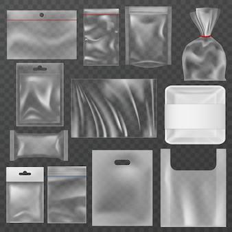 Confezione di plastica. confezioni in plastica trasparente, contenitori per alimenti e sacchetti sottovuoto. busta in polietilene, mockup di pacchetti snack