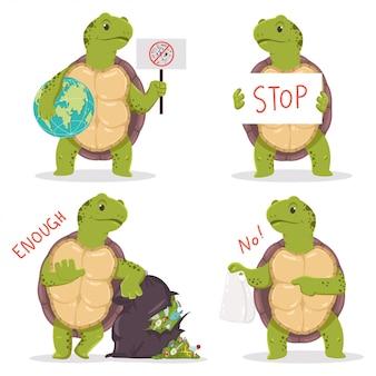 Caratteri di concetto di inquinamento di plastica con tartaruga e immondizia del fumetto.