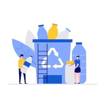 Concetto di illustrazione di problema di inquinamento di plastica con i personaggi. gruppo di persone che raccolgono rifiuti di plastica nel cestino dell'immondizia.
