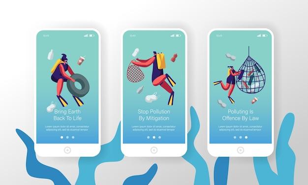 Inquinamento da plastica del mare con diversi tipi di immondizia pagina di app per dispositivi mobili set schermo a bordo.