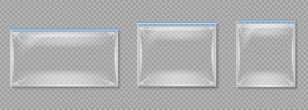 Buste di plastica. cartelle vuote trasparenti isolate con chiusure lampo.