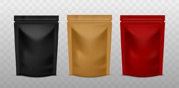 Bustina di plastica. pacchetto zip caffè colore dorato, nero e rosso, presentazione pubblicitaria borsa in piedi in lamina modelli realistici di prodotti vettoriali