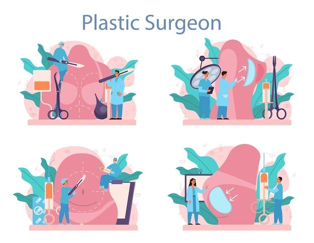 Set di concetto di chirurgo plastico. idea di correzione del corpo. impianto e liposuzione ospedaliera e procedura antietà.