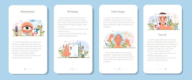 Set di banner per applicazioni mobili per chirurgo plastico